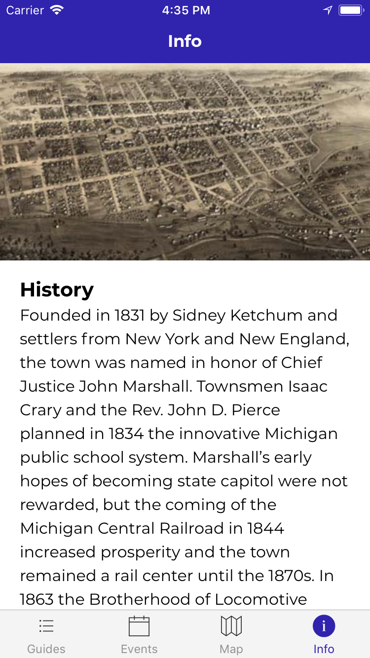 Historic Marshall App Info Screen